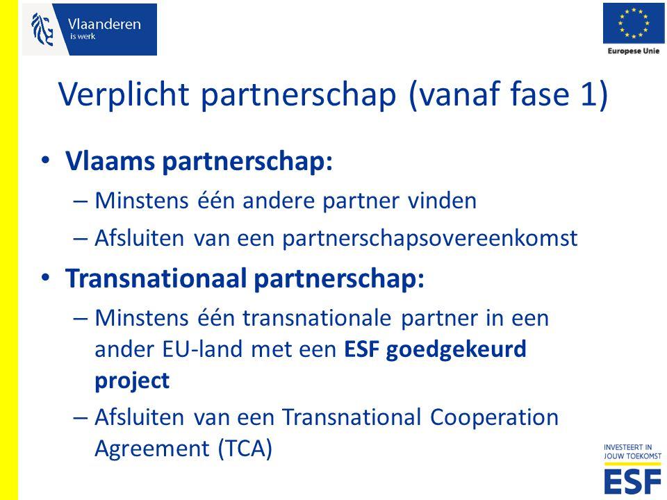 Verplicht partnerschap (vanaf fase 1) Vlaams partnerschap: – Minstens één andere partner vinden – Afsluiten van een partnerschapsovereenkomst Transnat