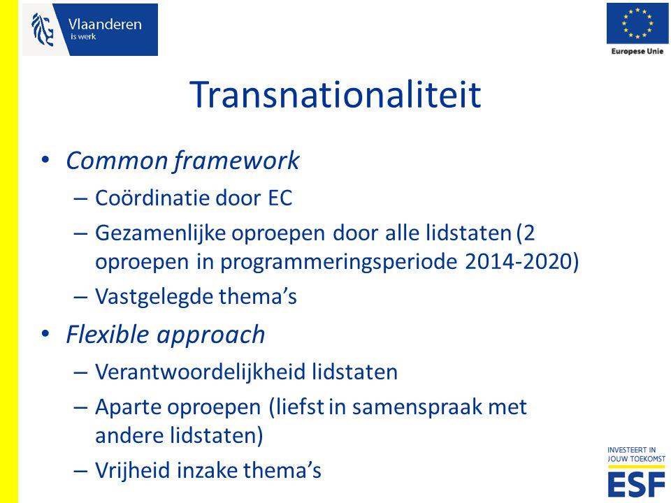 Transnationaliteit Common framework – Coördinatie door EC – Gezamenlijke oproepen door alle lidstaten (2 oproepen in programmeringsperiode 2014-2020)
