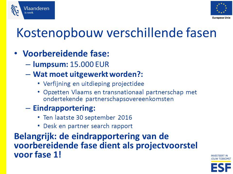 Kostenopbouw verschillende fasen Voorbereidende fase: – lumpsum: 15.000 EUR – Wat moet uitgewerkt worden?: Verfijning en uitdieping projectidee Opzett
