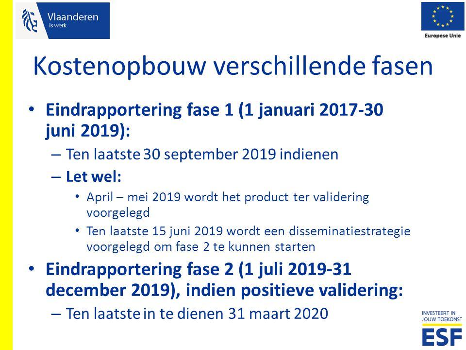 Kostenopbouw verschillende fasen Eindrapportering fase 1 (1 januari 2017-30 juni 2019): – Ten laatste 30 september 2019 indienen – Let wel: April – me