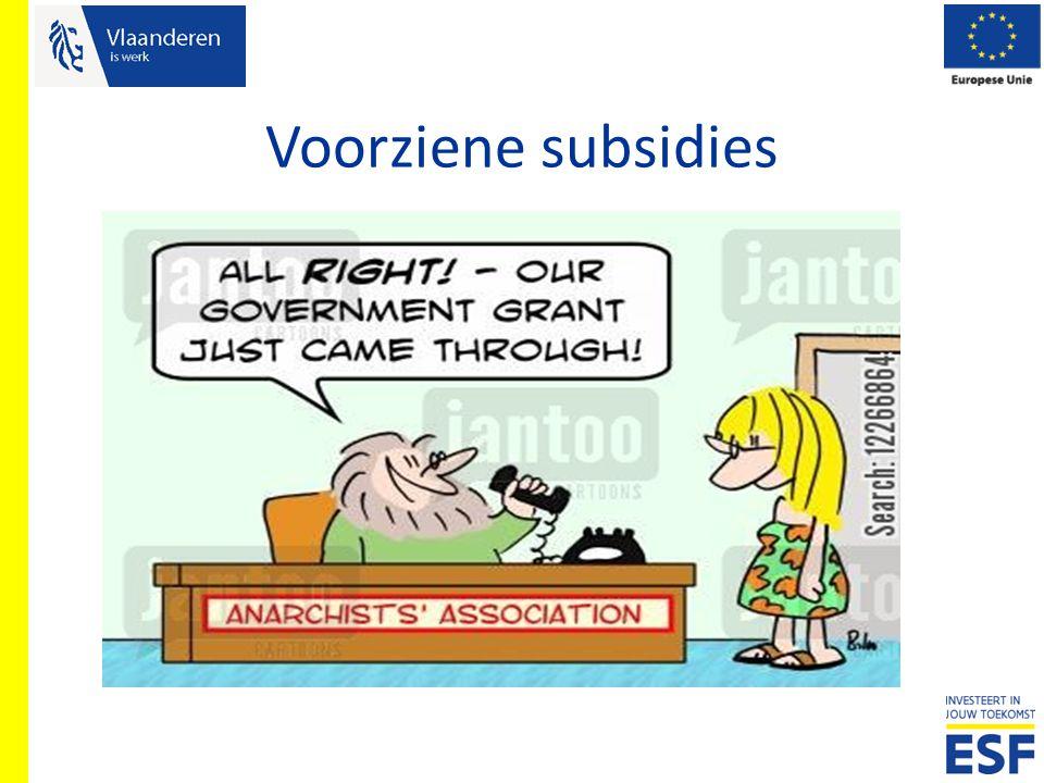 Voorziene subsidies