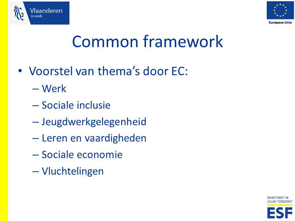 Common framework Voorstel van thema's door EC: – Werk – Sociale inclusie – Jeugdwerkgelegenheid – Leren en vaardigheden – Sociale economie – Vluchteli