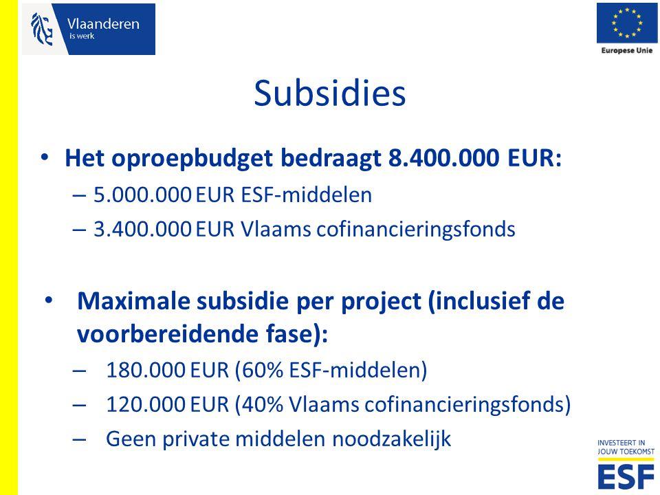 Subsidies Het oproepbudget bedraagt 8.400.000 EUR: – 5.000.000 EUR ESF-middelen – 3.400.000 EUR Vlaams cofinancieringsfonds Maximale subsidie per proj