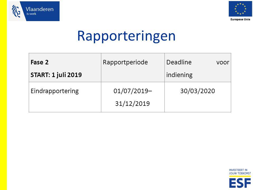 Rapporteringen Fase 2 START: 1 juli 2019 Rapportperiode Deadline voor indiening Eindrapportering01/07/2019– 31/12/2019 30/03/2020