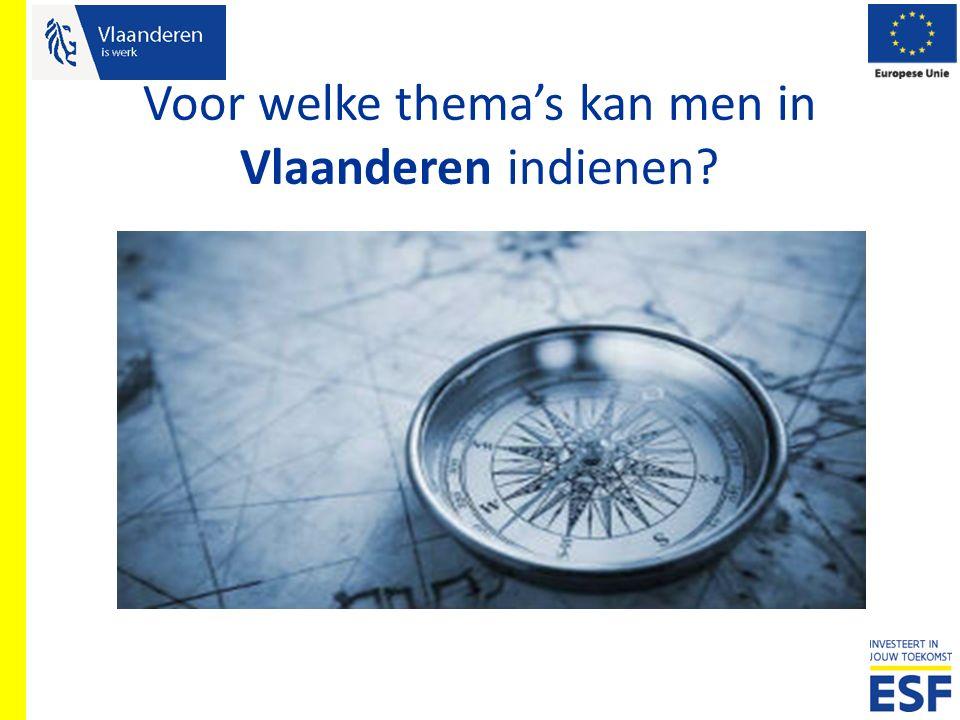 Voor welke thema's kan men in Vlaanderen indienen?