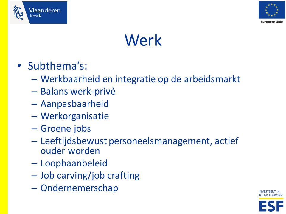 Werk Subthema's: – Werkbaarheid en integratie op de arbeidsmarkt – Balans werk-privé – Aanpasbaarheid – Werkorganisatie – Groene jobs – Leeftijdsbewus