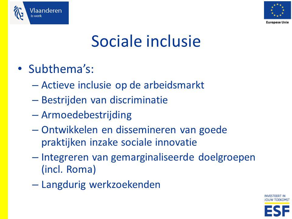 Sociale inclusie Subthema's: – Actieve inclusie op de arbeidsmarkt – Bestrijden van discriminatie – Armoedebestrijding – Ontwikkelen en dissemineren v