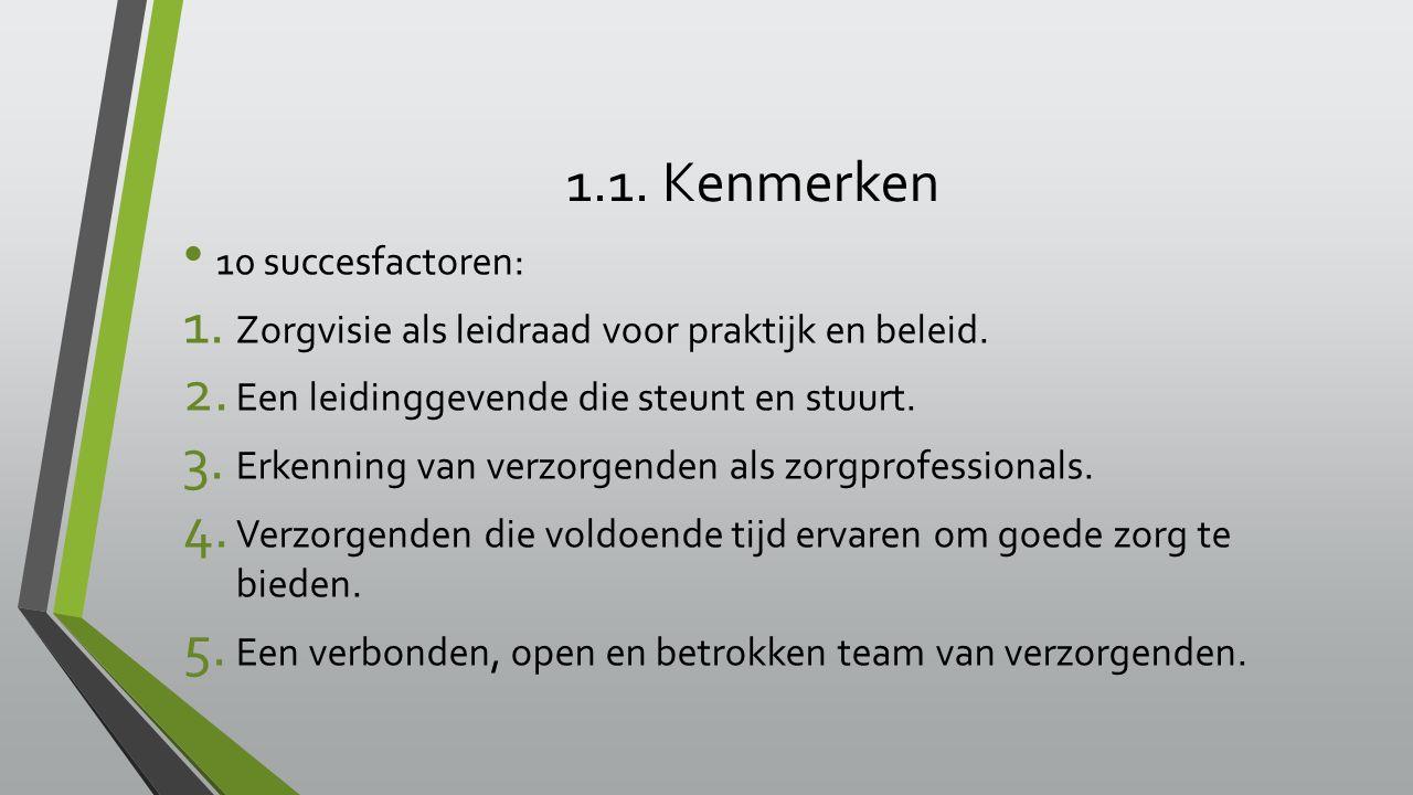 1.1. Kenmerken 10 succesfactoren: 1. Zorgvisie als leidraad voor praktijk en beleid.