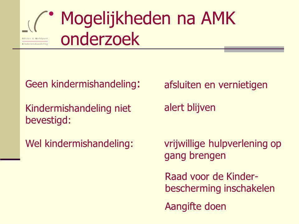 Mogelijkheden na AMK onderzoek Geen kindermishandeling : Kindermishandeling niet bevestigd: Wel kindermishandeling:vrijwillige hulpverlening op gang b