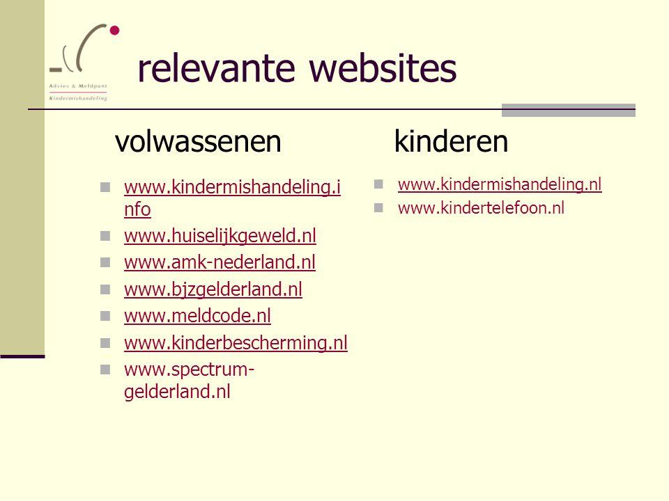 relevante websites www.kindermishandeling.i nfo www.kindermishandeling.i nfo www.huiselijkgeweld.nl www.amk-nederland.nl www.bjzgelderland.nl www.meld