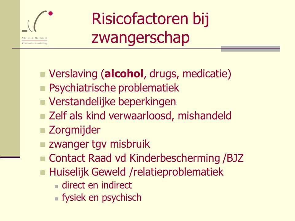 Risicofactoren bij zwangerschap Verslaving (alcohol, drugs, medicatie) Psychiatrische problematiek Verstandelijke beperkingen Zelf als kind verwaarloo