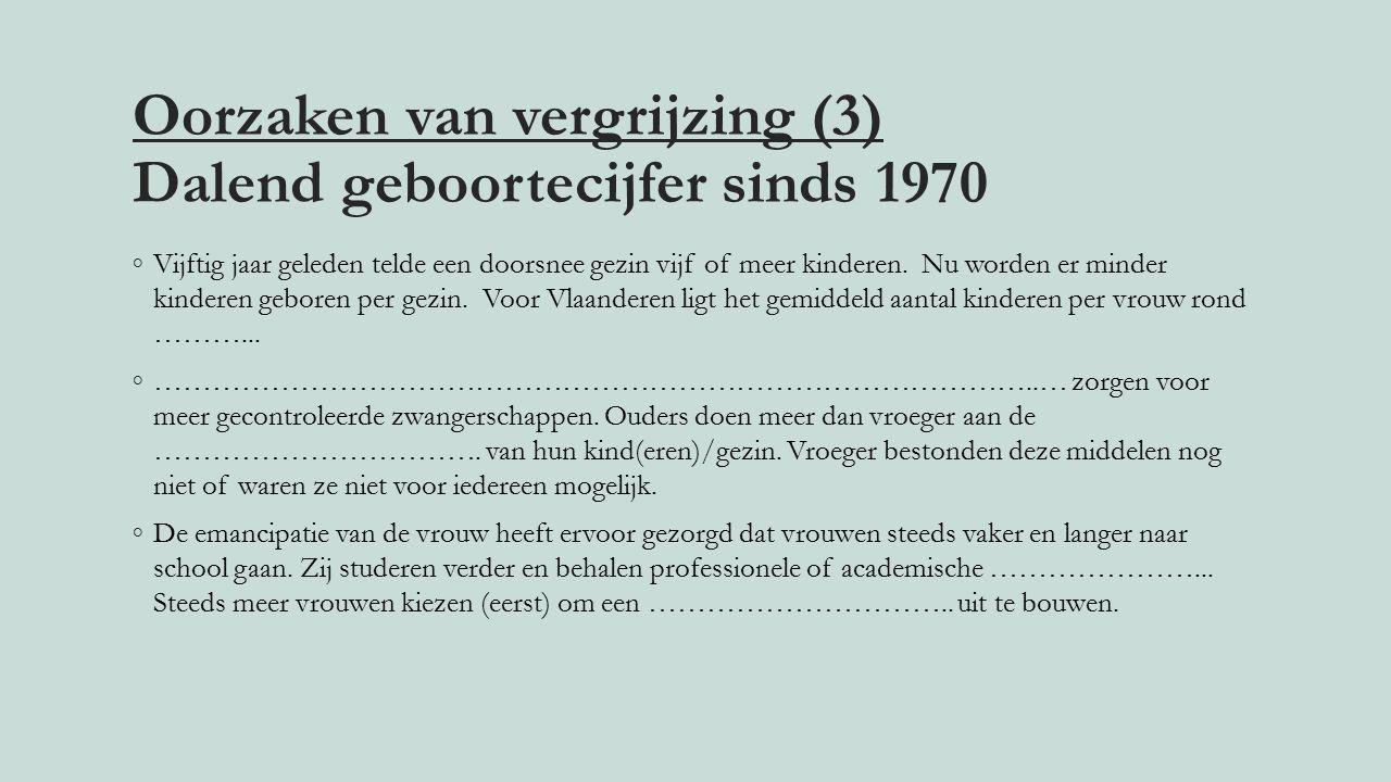 Oorzaken van vergrijzing (3) Dalend geboortecijfer sinds 1970 ◦Vijftig jaar geleden telde een doorsnee gezin vijf of meer kinderen.
