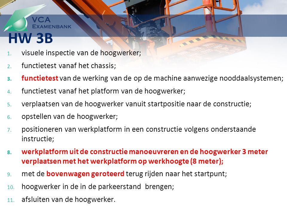 1. visuele inspectie van de hoogwerker; 2. functietest vanaf het chassis; 3.