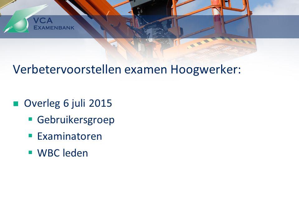 Verbetervoorstellen examen Hoogwerker: Overleg 6 juli 2015  Gebruikersgroep  Examinatoren  WBC leden