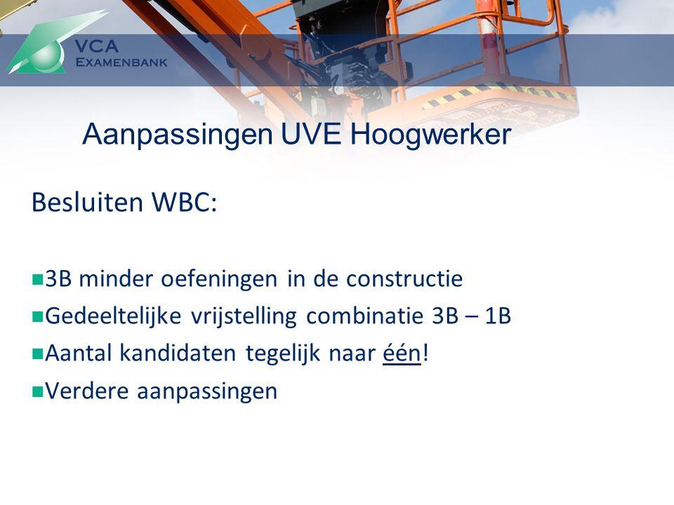 Besluiten WBC: 3B minder oefeningen in de constructie Gedeeltelijke vrijstelling combinatie 3B – 1B Aantal kandidaten tegelijk naar één.