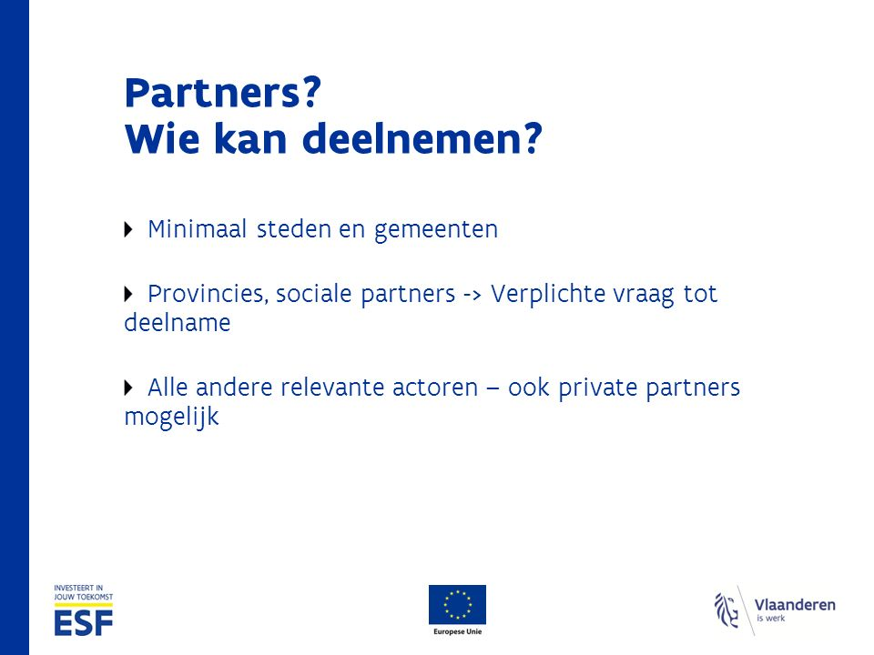Partners. Wie kan deelnemen.
