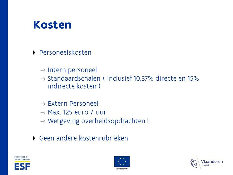 Kosten Personeelskosten Intern personeel Standaardschalen ( inclusief 10,37% directe en 15% indirecte kosten ) Extern Personeel Max.