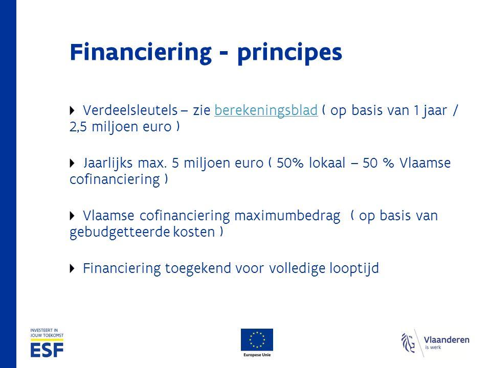 Financiering - principes Verdeelsleutels – zie berekeningsblad ( op basis van 1 jaar / 2,5 miljoen euro )berekeningsblad Jaarlijks max.