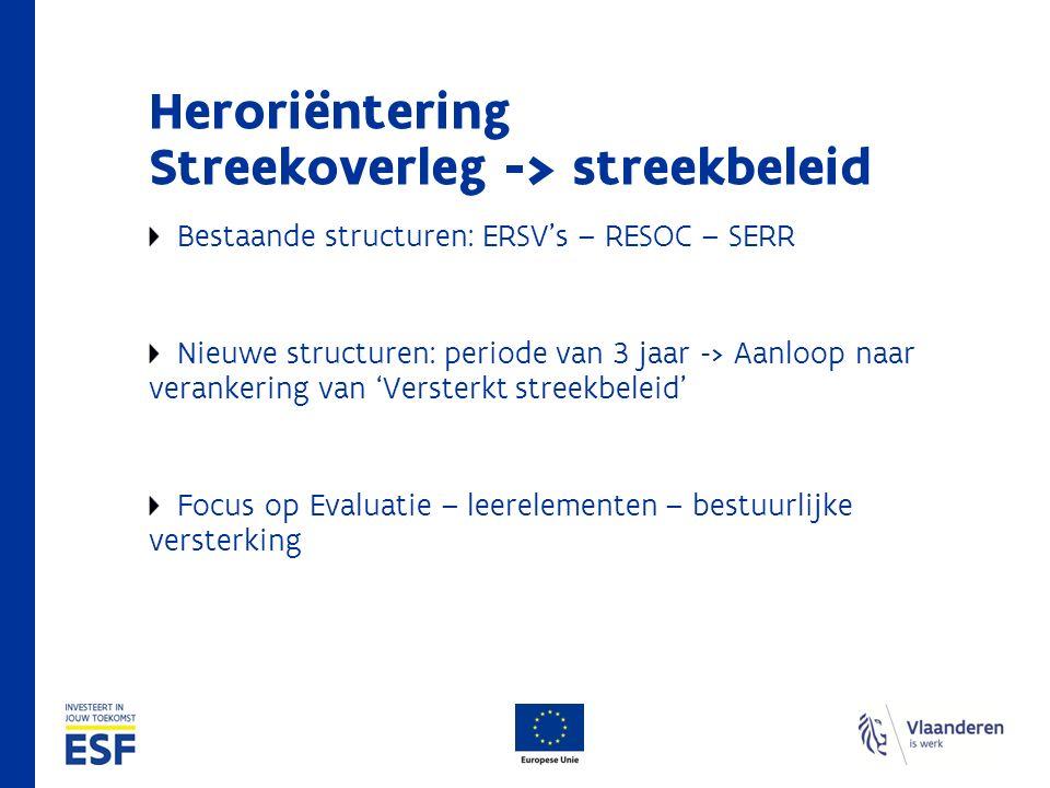 Heroriëntering Streekoverleg -> streekbeleid Bestaande structuren: ERSV's – RESOC – SERR Nieuwe structuren: periode van 3 jaar -> Aanloop naar verankering van 'Versterkt streekbeleid' Focus op Evaluatie – leerelementen – bestuurlijke versterking