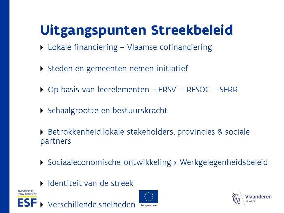 Versterkt Streekbeleid Acties Coördinatie Samenwerkingsverbanden Streekbeleid Opbouwen en concretiseren van de streekvisie Realiseren van prioritaire doelstellingen ( focus ) en acties