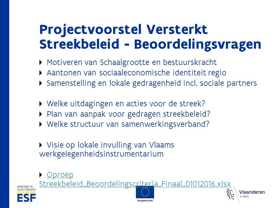Projectvoorstel Versterkt Streekbeleid - Beoordelingsvragen Motiveren van Schaalgrootte en bestuurskracht Aantonen van sociaaleconomische identiteit regio Samenstelling en lokale gedragenheid incl.