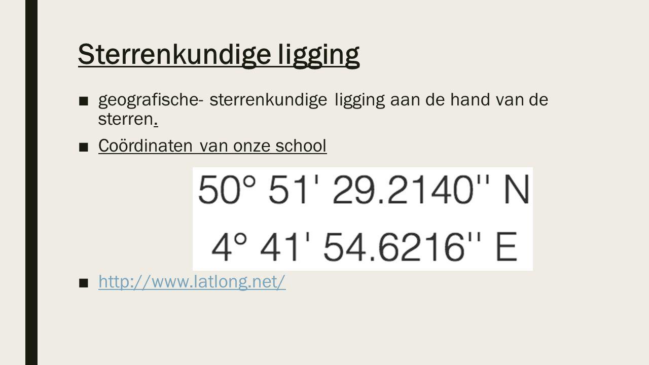 Sterrenkundige ligging ■geografische- sterrenkundige ligging aan de hand van de sterren. ■Coördinaten van onze school ■http://www.latlong.net/http://w
