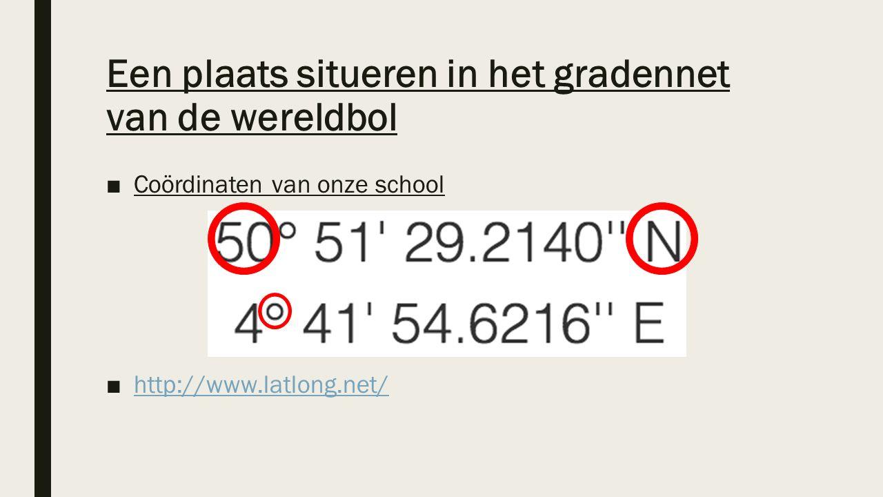 Een plaats situeren in het gradennet van de wereldbol ■Coördinaten van onze school ■http://www.latlong.net/http://www.latlong.net/