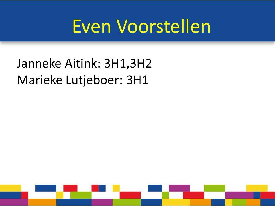 Even Voorstellen Janneke Aitink: 3H1,3H2 Marieke Lutjeboer: 3H1