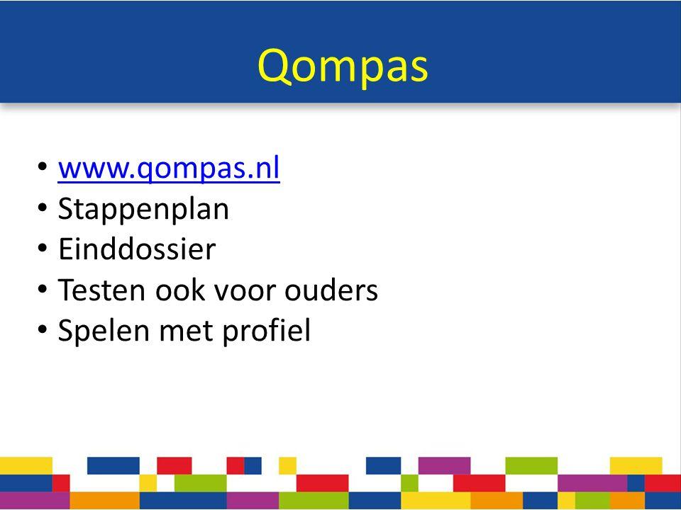 Qompas www.qompas.nl Stappenplan Einddossier Testen ook voor ouders Spelen met profiel
