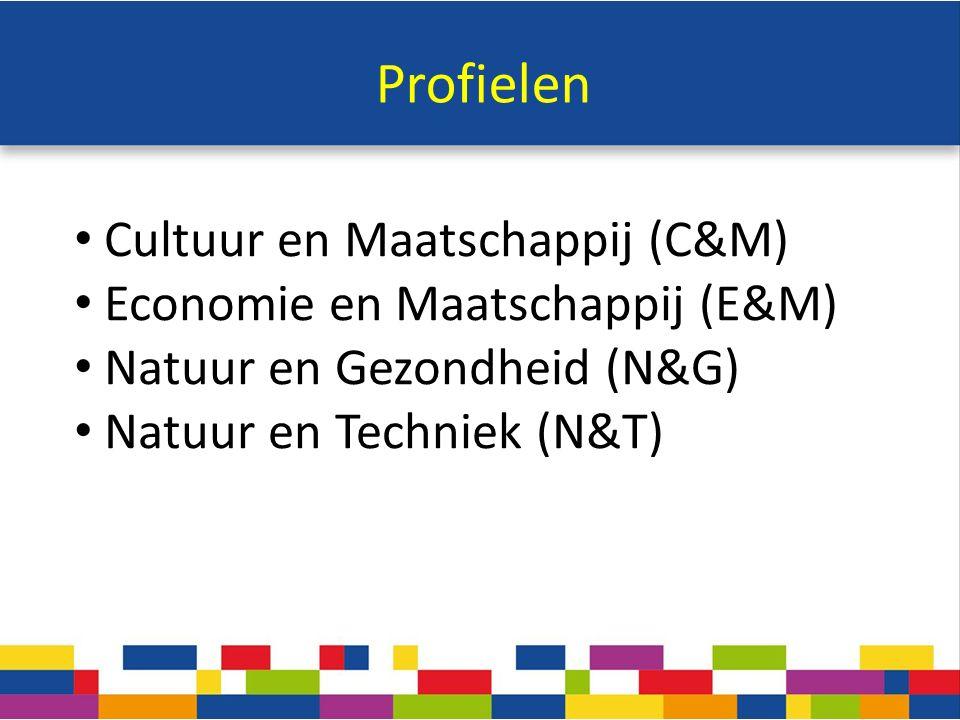 Profielen Cultuur en Maatschappij (C&M) Economie en Maatschappij (E&M) Natuur en Gezondheid (N&G) Natuur en Techniek (N&T)