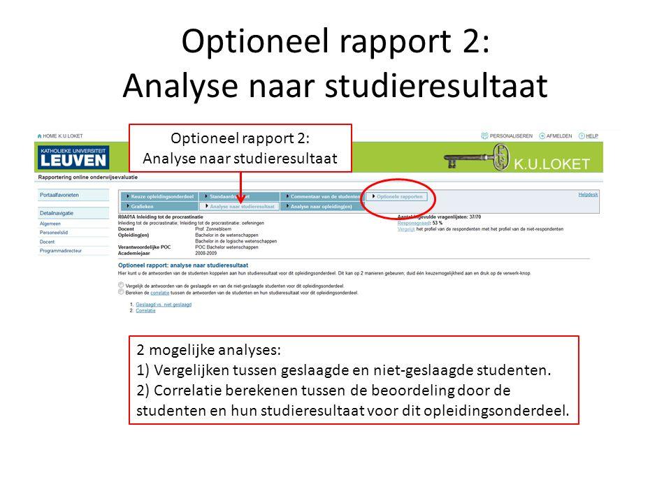 Optioneel rapport 2: Analyse naar studieresultaat 2 mogelijke analyses: 1) Vergelijken tussen geslaagde en niet-geslaagde studenten. 2) Correlatie ber