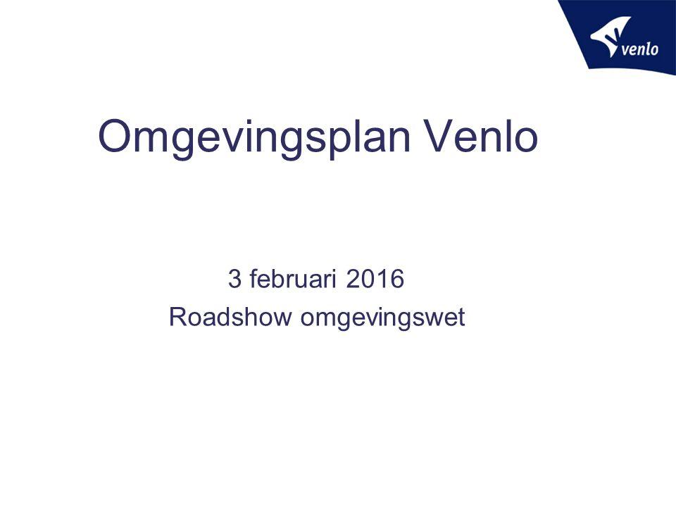 Experiment Omgevingsplan  Een gebiedsdekkend bestemmingsplan met verbrede reikwijdte voor het gehele grondgebied van Venlo (=omgevingsplan)  Vooruitlopen op Omgevingswet  Juridische basis Besluit Crisis- en herstelwet (8 e tranche) 2