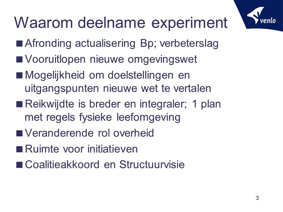Waarom deelname experiment  Afronding actualisering Bp; verbeterslag  Vooruitlopen nieuwe omgevingswet  Mogelijkheid om doelstellingen en uitgangsp