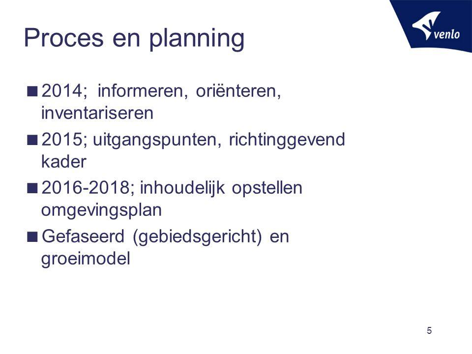 Proces en planning  2014; informeren, oriënteren, inventariseren  2015; uitgangspunten, richtinggevend kader  2016-2018; inhoudelijk opstellen omge