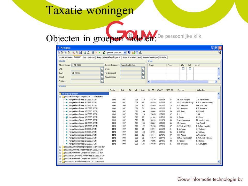 Taxatie woningen Objecten in groepen indelen:
