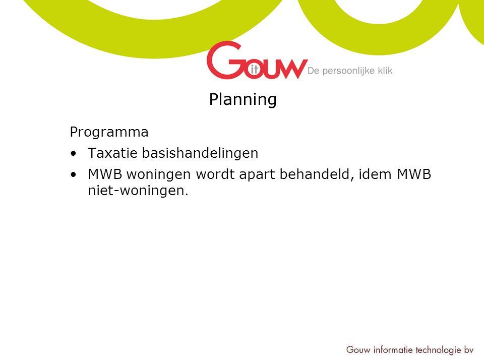 Planning Programma Taxatie basishandelingen MWB woningen wordt apart behandeld, idem MWB niet-woningen.