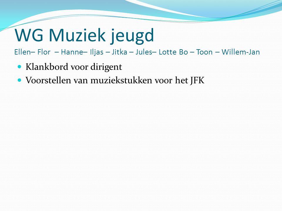 WG Muziek jeugd Ellen– Flor – Hanne– Iljas – Jitka – Jules– Lotte Bo – Toon – Willem-Jan Klankbord voor dirigent Voorstellen van muziekstukken voor het JFK