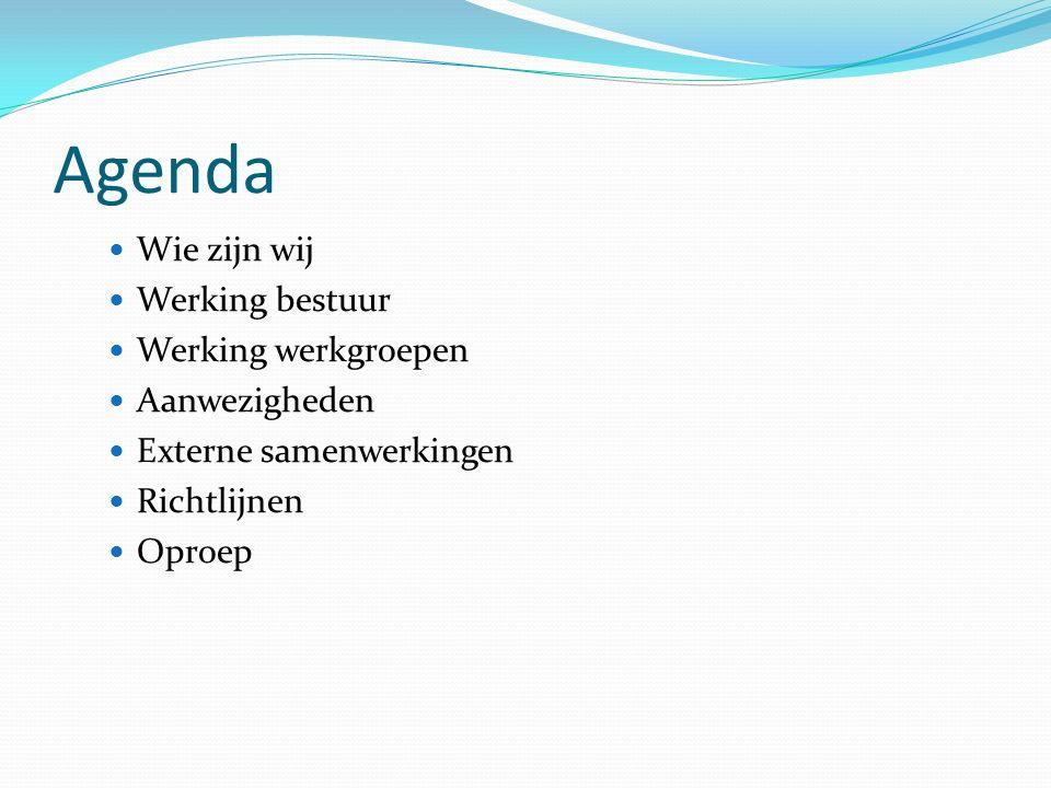 Agenda Wie zijn wij Werking bestuur Werking werkgroepen Aanwezigheden Externe samenwerkingen Richtlijnen Oproep