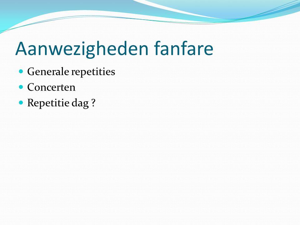 Aanwezigheden fanfare Generale repetities Concerten Repetitie dag