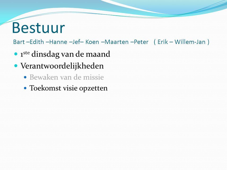 Bestuur Bart –Edith –Hanne –Jef– Koen –Maarten –Peter ( Erik – Willem-Jan ) 1 ste dinsdag van de maand Verantwoordelijkheden Bewaken van de missie Toekomst visie opzetten