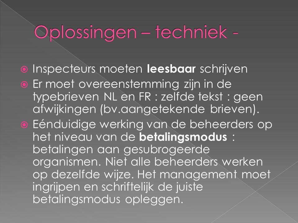  Inspecteurs moeten leesbaar schrijven  Er moet overeenstemming zijn in de typebrieven NL en FR : zelfde tekst : geen afwijkingen (bv.aangetekende brieven).