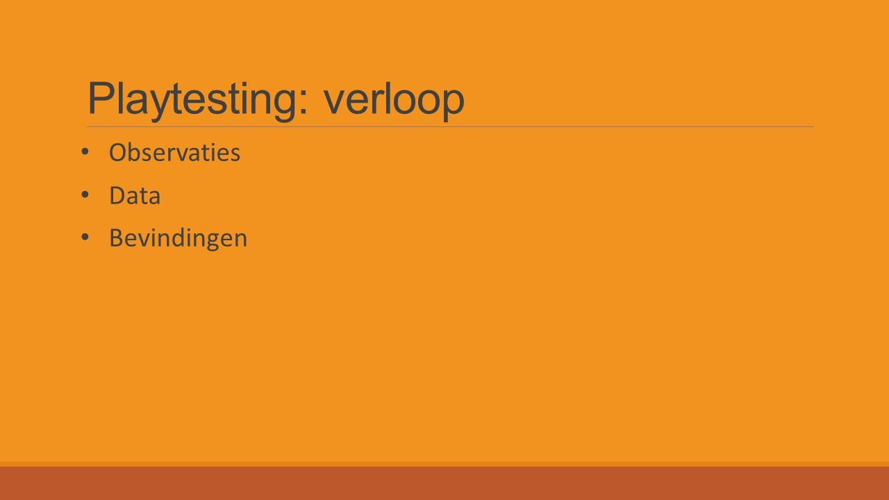 Playtesting: verloop Observaties Data Bevindingen
