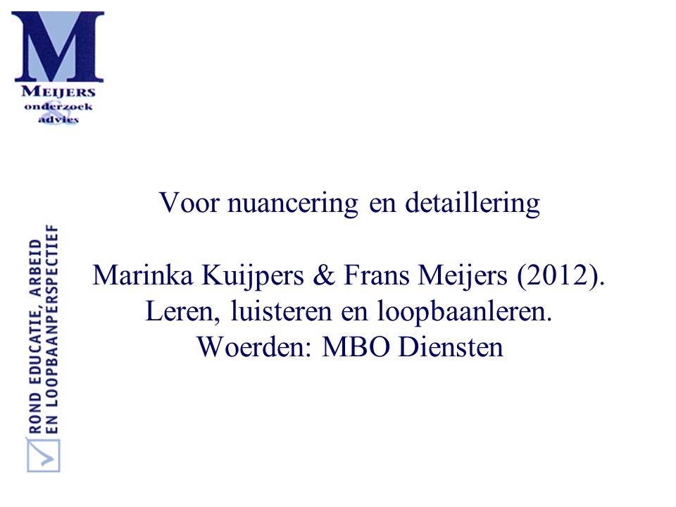 Voor nuancering en detaillering Marinka Kuijpers & Frans Meijers (2012). Leren, luisteren en loopbaanleren. Woerden: MBO Diensten