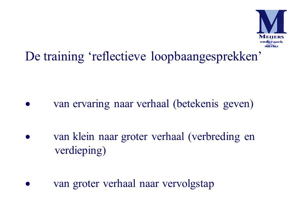 De training 'reflectieve loopbaangesprekken'  van ervaring naar verhaal (betekenis geven)  van klein naar groter verhaal (verbreding en verdieping)  van groter verhaal naar vervolgstap