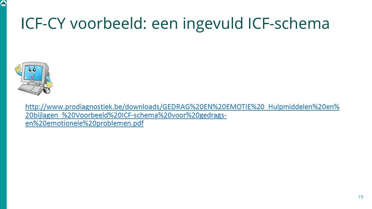 I CF-CY voorbeeld: een ingevuld ICF-schema 19 http://www.prodiagnostiek.be/downloads/GEDRAG%20EN%20EMOTIE%20_Hulpmiddelen%20en% 20bijlagen_%20Voorbeel