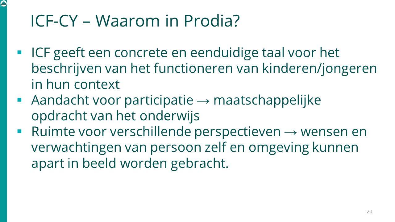 ICF-CY – Waarom in Prodia?  ICF geeft een concrete en eenduidige taal voor het beschrijven van het functioneren van kinderen/jongeren in hun context