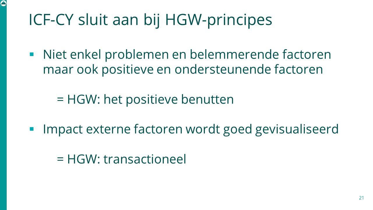 ICF-CY sluit aan bij HGW-principes  Niet enkel problemen en belemmerende factoren maar ook positieve en ondersteunende factoren = HGW: het positieve