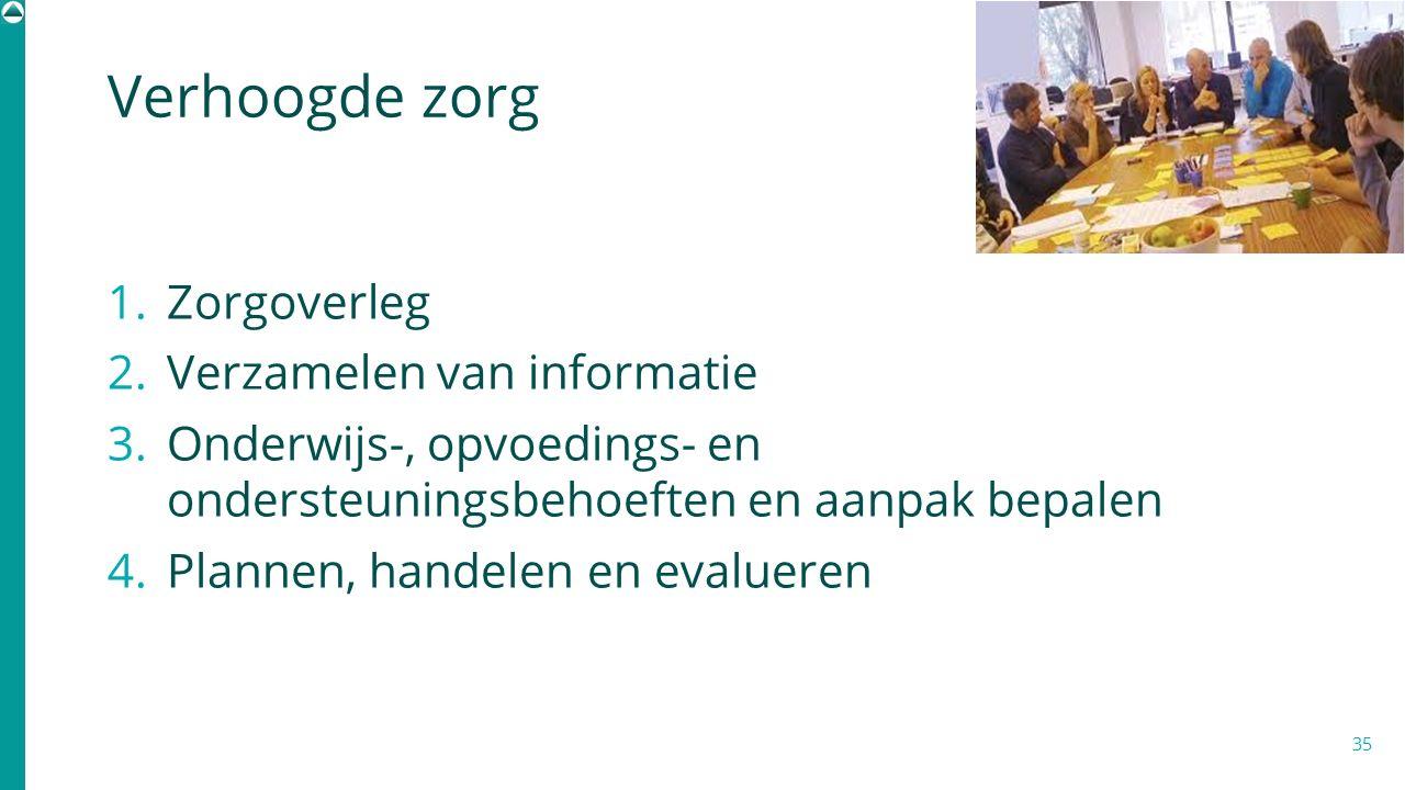 1. Zorgoverleg 2. Verzamelen van informatie 3. Onderwijs-, opvoedings- en ondersteuningsbehoeften en aanpak bepalen 4. Plannen, handelen en evalueren