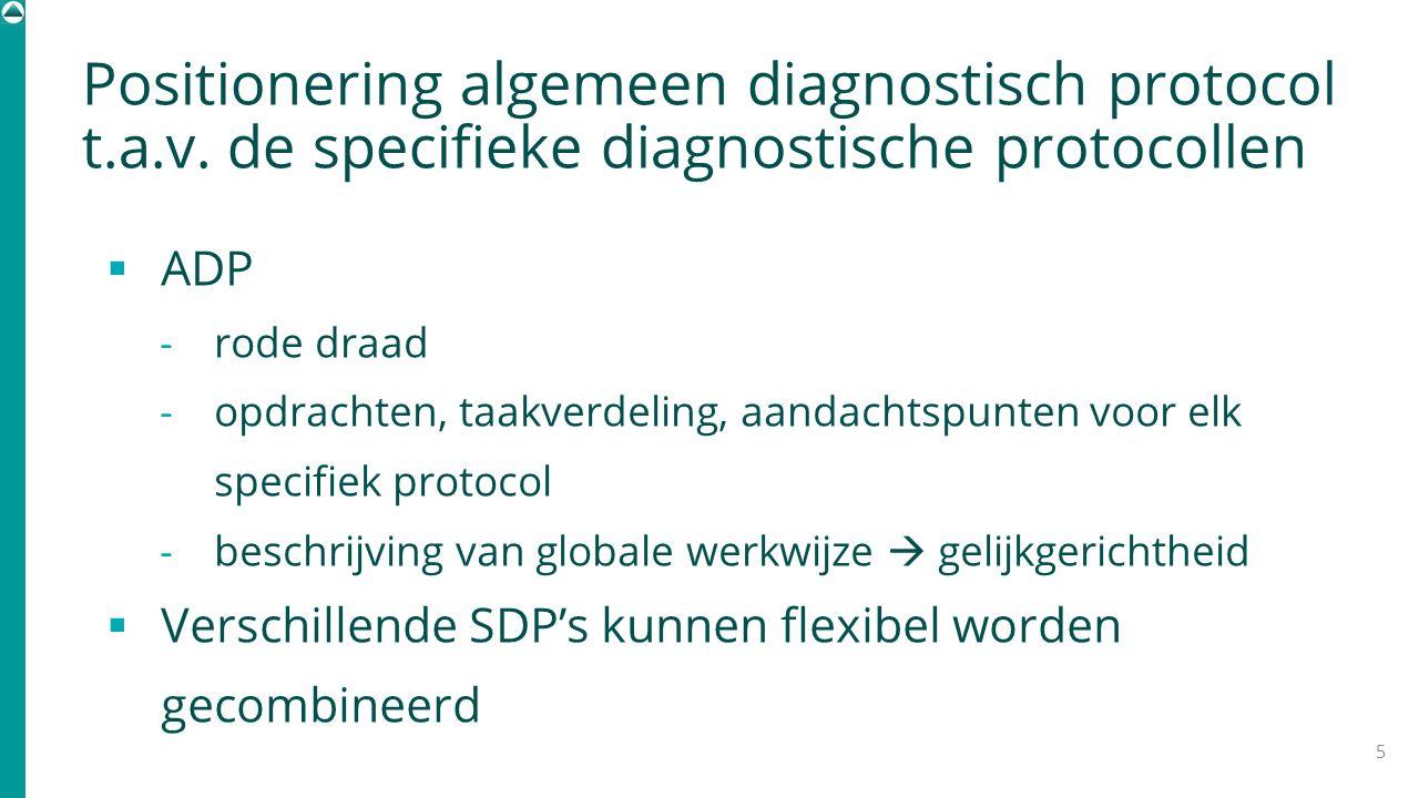 Positionering algemeen diagnostisch protocol t.a.v. de specifieke diagnostische protocollen  ADP - rode draad - opdrachten, taakverdeling, aandachtsp