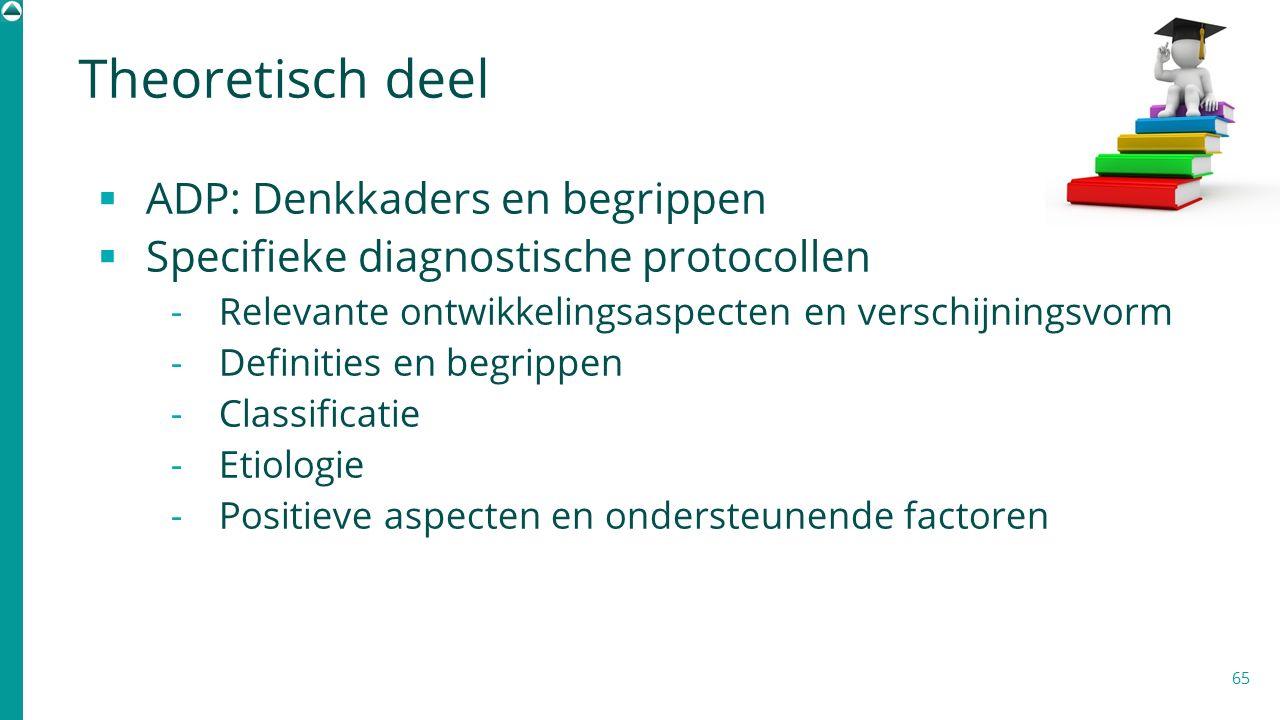65  ADP: Denkkaders en begrippen  Specifieke diagnostische protocollen  Relevante ontwikkelingsaspecten en verschijningsvorm  Definities en begrip